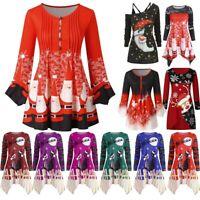 Women Christmas Print Tops Ladies Long Sleeve Casual Pullover T Shirt Blouse UK
