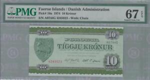 PMG 67 Denmark Faeroe Island 1974 Banknote 10 Kroner EPQ