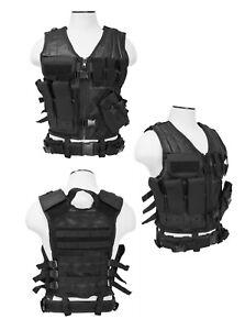 NcSTAR CTV2916B PVC Tactical Vest with Holster, Heavy Duty, Medium-2XL, Black