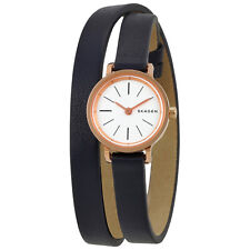 Skagen Hagen White Dial Ladies Black Leather Double Wrap Watch SKW2598