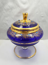 Vintage Bohemian Crystal Cobalt Blue & Gold Design Jeweled Lidded Candy Dish