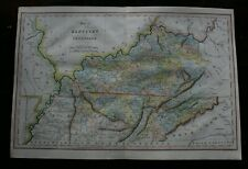 Antique map of Kentucky and Tennesse by J Hinton hand coloured published 1832