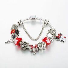 Mickey Mouse Charm Bracelet Minnie Mouse Pendant Beads Women Girl Child Bangle