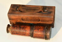 Vintage Brass Telescope Dollond London Nautical Marine Antique Leather Spyglass.