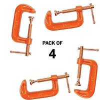 "PACK OF 4 CAST IRON 2"" 50 MM G CLAMPS WOOD WORKING WELDING CRAMPS COPPER PLATED"
