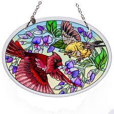 "Cardinal Hand Painted Beveled Glass Suncatcher By Amia Studios 7"" x 5.25"" New"