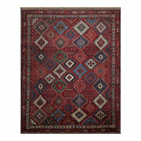 "9'10"" x 13' Hand Knotted 100% Wool Authentic Yalameh Area Rug Oriental Red"