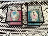 Vintage  Asian Oriental Hand Painted Egg Shell Blue & Pink Geisha in Glass Case