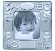 Engrave-able Pewter Baby Frame, Bear Pewter Baby Frame, ABCD Motif Baby Frame