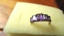 9ct yellow gold and amethyst ring, pre worn, size Q.5, ex QVC