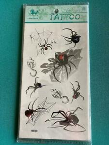 Halloween TATTOOS SPIDERS Temporary washable party bag filler child adult HM099