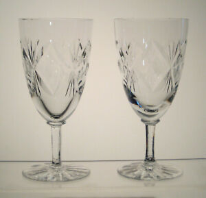 """BIRKS CRYSTAL Wine Glasses 6 3/8"""" Notched Stem, SET of 2, VINTAGE BIRKS CRYSTAL"""