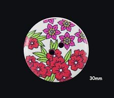 10 Large Wooden Round 30mm Red and Purple Flower White Buttons - BU1150