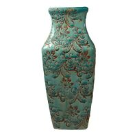 "Ceramic Teal, Brown, Green Vase  12"" Tall"