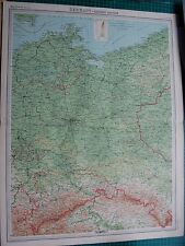 1922 LARGE ANTIQUE MAP- GERMANY-EASTERN SECTION