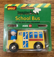 Vintage BRIO Wooden Train Set Delivery School Bus Figure Man 1996 NIP NEW Thomas