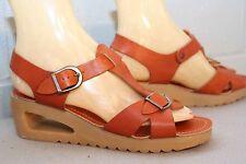 7 N Nos Vtg 1970s T-Strap Wedge Cut-Out Heel 70s Platform Sandal Brown Shoe