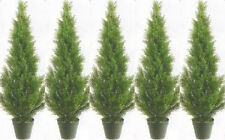 5 CEDAR OUTDOOR 3' TOPIARY UV TREE ARTIFICIAL CYPRESS PINE JUNIPER 6 4 EVERGREEN