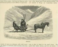ANTIQUE NORWAY NORWEGIAN SLEIGH MAN WOMAN SLEDGING SLED SLEDDING OLD PRINT