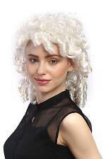 Parrucca Donna Carnevale Barocco Bianco Ricci A Spirale Principessa Nobildonna