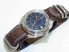 Russian Military Men`s Watch. VOSTOK. Komandirskie.The genuine leather VC 211398