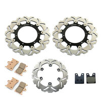 Black Front Rear Brake Rotors and Pads set For Yamaha YZF-R1 YZFR1 1998-2001
