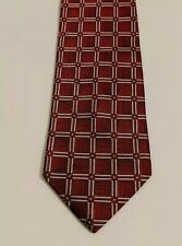 Jos Joseph A Bank Vintage Silk Neck Tie Red w Silver Square Pattern