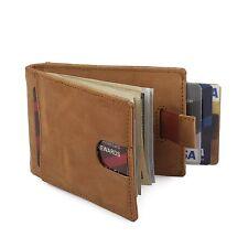 RFID Blocking Slim Bifold Genuine Leather Minimalist Wallets Men Money Clip