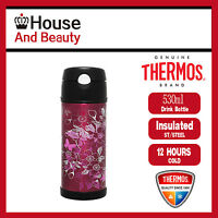 NEW Thermos S/Steel Vaccum Insulated Hydration Drink Bottle 530ml Floral Magenta