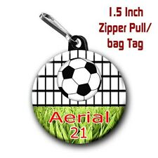 Soccer Zipper Pull/Bag Tags Two Personalized Charms with Name and Number
