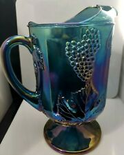 Vintage Indiana Carnival Glass Pitcher Harvest Grape Iridescent Blue Footed