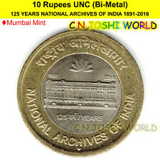 125 Years of National Archives Of India 1891-2016- 10 Rupees UNC Bi-Metal 1 Coin