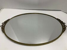 "Vintage Brass Oval Vanity Mirror Tray Perfume Victorian 16"" X 10"""