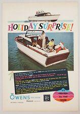1961 Print Ad Owens 25' Cabin Cruiser Boats Brunswick Baltimore,Maryland