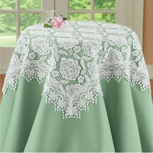 Exquisite Rose Lace Valentine's Day Square Polyester Tablecloth