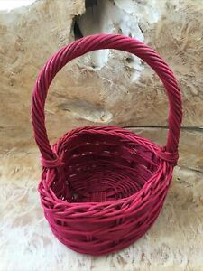 """Red Heart Shaped Wicker Basket with Handle 6.25""""W x 6.25""""L x 10""""H"""