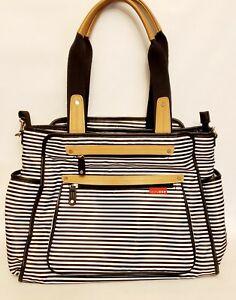 Skip Hop Grand Central Take-It-All Diaper Bag Black White Stripe Large Tote ECU