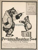 1900 Pettijohns Breakfast Food American Cereal ADORABLE Bears Eating Print Ad