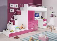 Etagenbett Hochbett Felix Hochglanz Weiss Rosa 2 x Bett Schrank Schreibtisch