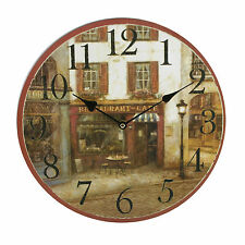 Traditional Round Wooden Wall Clock ~ Street Cafe Restaurant Image W6739