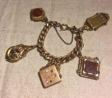Antique Victorian Yellow Gold Filled 5 Charm Locket Bracelet