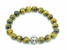Tigers Eye Bracelet Lion Head Stretch Men's Beaded Stainless Steel Beads 10mm