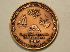 1987 Quebec Numismatic Society Copper $2 Medal with COA  39mm 24.36g #G9425