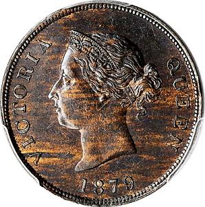 1879 CYPRUS QUEEN VICTORIA BRONZE 1/2 PIASTRE PCGS AU58 BROWN