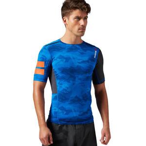Mens Short Sleeve Tee Reebok Elite Quick Cotton Compression Training Tight Shirt