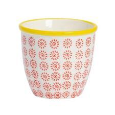 Flower Plant Pot Ceramic Porcelain Indoor Outdoor Garden - Red / Yellow Swirl