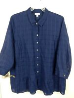 J.Jill Womens Indigo Button Up Sheer Checked Long Sleeve Blouse Top XL Petite