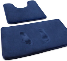 Feelso Memory Foam Bath Mat Set, 3 Piece Bathroom Rugs Non Slip And Absorbent