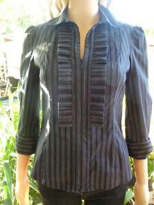 Cue black/white striped shirt/blouse size 8  3/4 sleeve  55% cotton