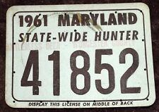 MARYLAND STATE WIDE HUNTING LICENSE 1961